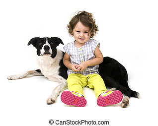 Baby Girl with Dog