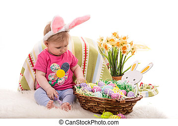 Baby girl with Easter basket