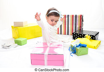 Baby girl with gifts