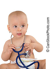 Baby girl with stethoscope