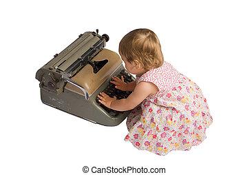 Baby Girl with Typewriter