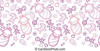 Baby girls horizontal border seamless pattern background -...