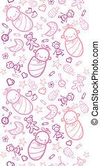 Baby girls horizontal seamless pattern background