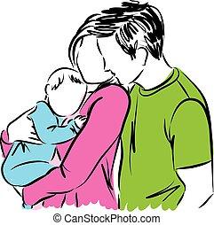 baby, glade, forældre, illustratio