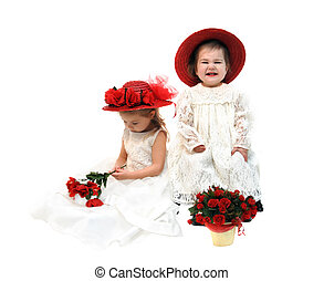 Baby Glee - Sisters sit close dressed in off-white lacy...