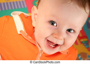 baby, glimlachen, jongen, tand