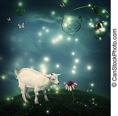 Baby goat in fantasy hilltop with snail and butterflies
