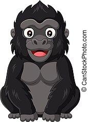 baby gorilla, witte , spotprent, achtergrond