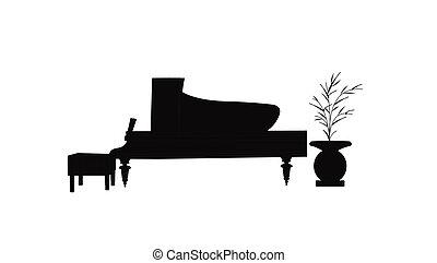 baby grand piano in silhouette - grand piano in silhouette