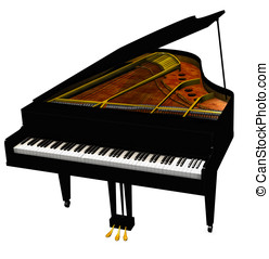 Baby Grand Piano keys and soundboard visible. Isolated on...