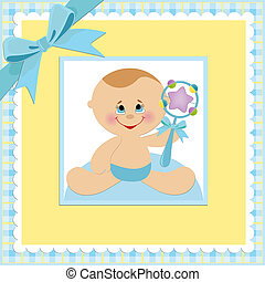 Baby greetings card with blue beanbag