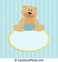 Baby greetings card with sitting teddy bear