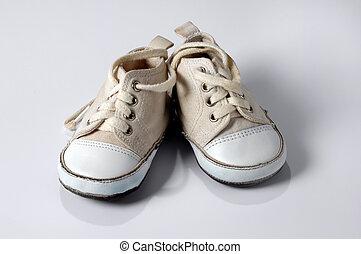 baby, gymschoen, op, witte achtergrond