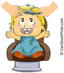 Baby Haircut - Illustration of a Little Boy Getting a...
