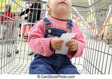 baby, halten, einchecken, shopingcart
