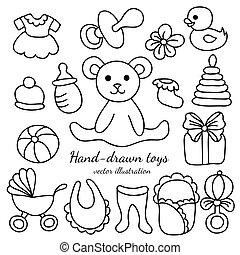baby, hand-drawn, gods, sätta, toys