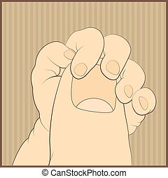 Baby hand gently holding adult's finger vector illustration