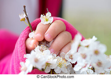 Baby hand holding a branch