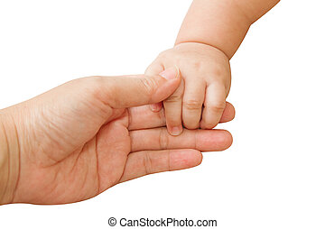 baby hand holding mother hand together,touch of happiness