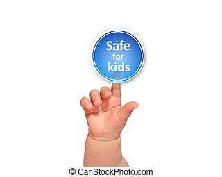 Baby hand pressing button. - Baby hand pressing safe for...
