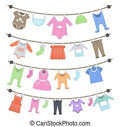 baby, hanging., kläder