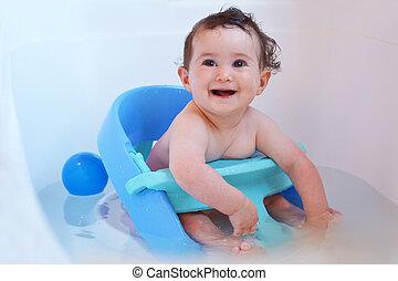 Baby having a bath