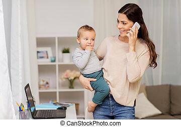 baby, hem, smartphone, mor, yrke