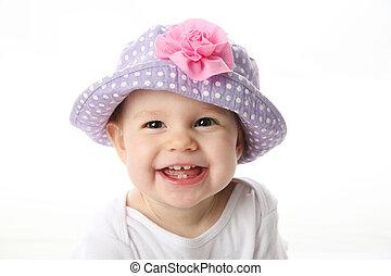 baby, het glimlachen, hoedje