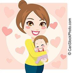 baby, het glimlachen, mamma