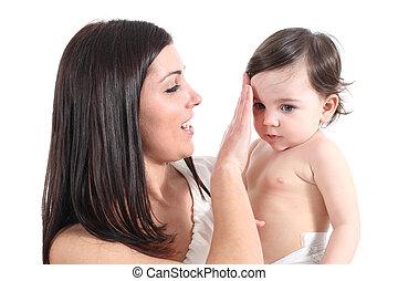 baby, het kammen, aantrekkelijk, haar, moeder