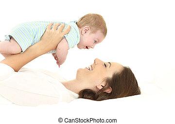 baby, het liggen, bed, moeder