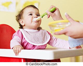 baby, het voeden, haar, moeder