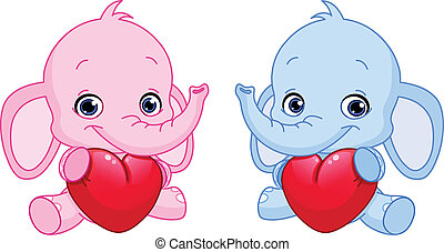 baby, hjärtan, holdingen, elefanter