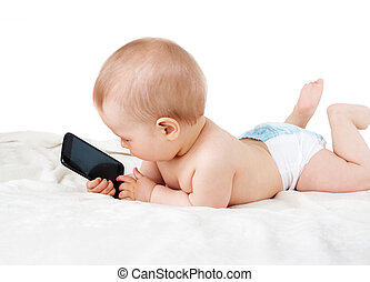 Baby holding a phone