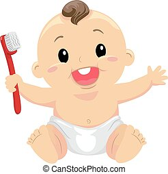 Baby holding a toothbrush - Vector Illustration of Baby...