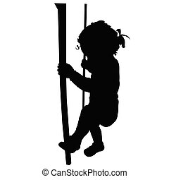 baby holding hands for a fence vector silhouette
