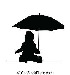 baby holding umbrella vector silhouette