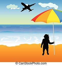baby holing umbrella on the beach illustration