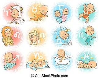 baby horoscope - Set of zodiac icons. Horoscope signs as...