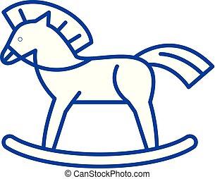 Baby horse line icon concept. Baby horse flat vector symbol,...