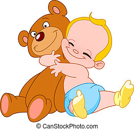 Baby hug bear - Cheerful baby hugging his teddy bear