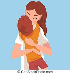 Baby hugs mom, mom kisses son cartoon vector illustration