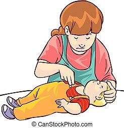 baby, hulp, vector, illustratie, eerst