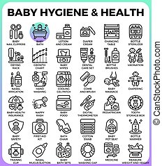 Baby hygiene and health concept detailed line icons set in...