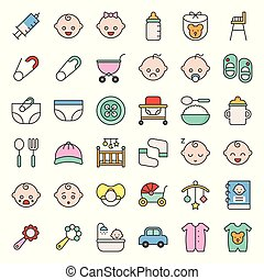 baby icon and emoticon filled outline, set 1/2