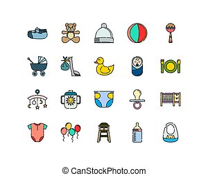 Baby Icon Collections with Filled Outline Style