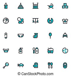 Baby Icon Set Design Filled Line Style