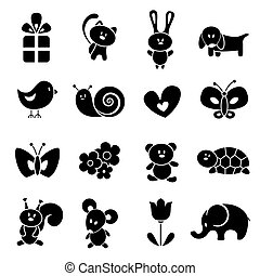 Baby icon set. EPS 8 vector illustration.