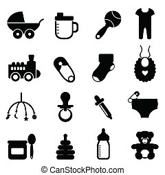 Baby icon set in black - Baby objects icon set in black