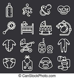 Baby icon set in thin line style